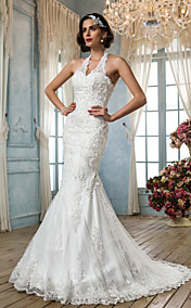 Trumpet/Mermaid V-neck Halter Tulle Wedding Dress