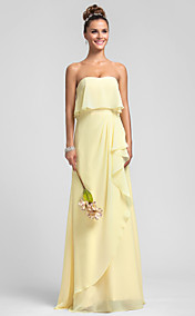 Sheath/Column Strapless Chiffon Bridesmaid Dress