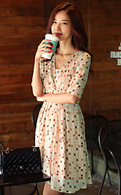 Women's Wrap Polka Dots Pleated Midi Sleeve Dress With Belt