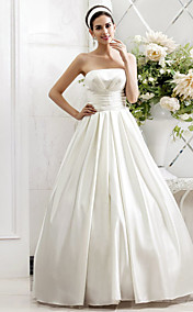 A-line Princess Strapless Sweep/Brush Train Side-Draped Satin Wedding Dress