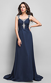 Sheath/Column Straps Sweep/Brush Train Beading Chiffon Evening Dress