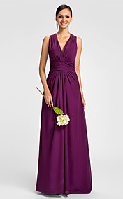 Sheath/Column V-neck  Halter Floor-length  Chiffon Evening Dress