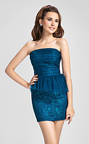 Sheath/Column Strapless Short/Mini Ruffles Lace And Tulle Bridesmaid Dress(618871)