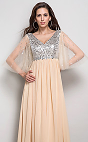Sheath/Column V-neck Sequined  Chiffon Floor-length  Evening Dress