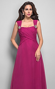 A-line Straps Floor-length Chiffon Refined Evening Dress