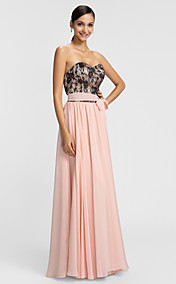 Sheath/Column Sweetheart Floor-length Chiffon And Lace Evening Dress With Belt