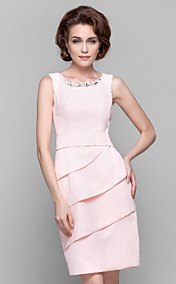 Sheath/Column Jewel Knee-length Chiffon Mother of the Bride Dresses