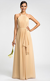 Sheath/Column High Neck Floor-length Chiffon Evening Dress