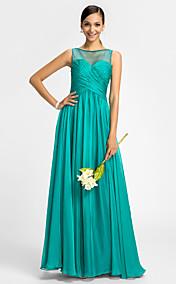 Sheath/Column Scoop Floor-length Chiffon Tulle Bridesmaid Dress