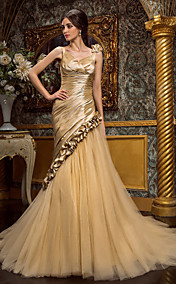 Trumpet/Mermaid V-neck Court Train Taffeta And Tulle Wedding Dress (467033)