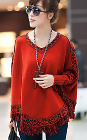 Women's Ethnic Jacquared Tassles Cape Sweater