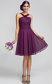A-line Princess Halter Knee-length Chiffon Bridesmaid Dress (663654)