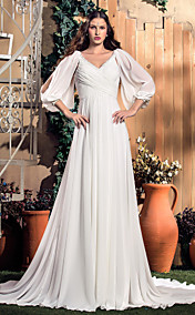 A-line V-neck Court Train Chiffon Wedding Dress (568344)