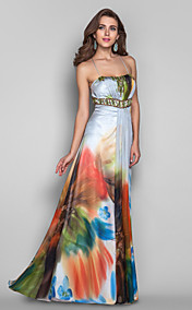 A-line/Princess Spaghetti Straps Floor-length Print Chiffon Evening/Prom Dress