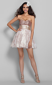 A-line/Princess Sweetheart Short/Mini Sequined And Print Tulle Cocktail Dress