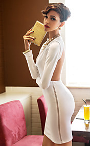 TS Backless Long Sleeve Bodycon Dress