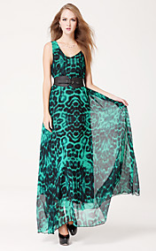 TS Simplicity Print Chiffon Maxi Dress Belt Included