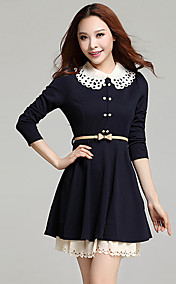 Women's Long Sleeves Chiffon Knitwear Dress