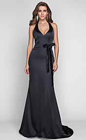 Sheath/Column Halter Sweep/Brush Train Stretch Satin Evening Dress (636355)