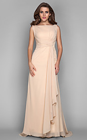 Sheath/Column Bateau Sweep/Brush Train Chiffon Evening Dress