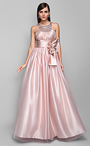 A-line Jewel Floor-length Stretch Satin And Tulle Evening Dress (605471)