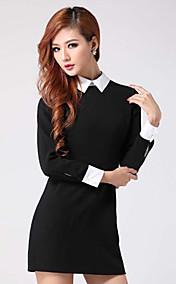 Women's Pan Collar Sexy Bodycon Long Sleeve Mini Dress