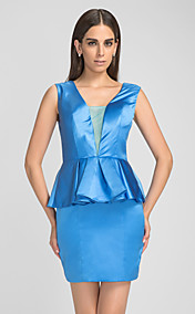 Sheath/Column V-neck Satin Cocktail Dress