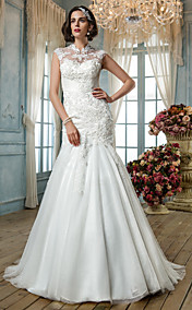 Free Custom Measurements!  Trumpet/Mermaid High Neck Tulle Wedding Dress