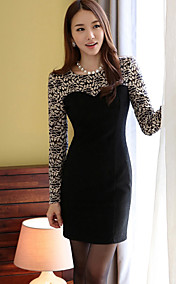 Women's Fleece Splicing Sheath Mini Dress