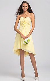 A-line Sweetheart Asymmetrical Chiffon Bridesmaid Dress (631210)