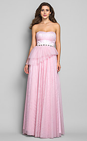 Sheath/Column Strapless Floor-length Tulle Evening Dress (605480)