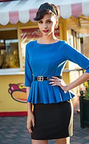 TS Contrast Color Wasp Waist Peplum Belt Dress