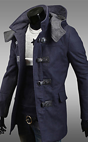 Men's stand collar hoodie stitching trench coat