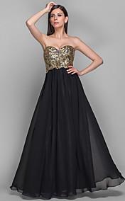 A-line Sweetheart Floor-length Chiffon Grace Evening Dress