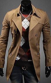 Men's lapel double breasted slim casual trench coat