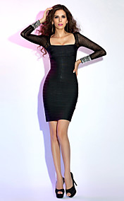 Sheath/Column Square Short/Mini Sexy Bandage Dress