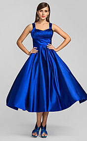 A-line Princess Straps Tea-length Stretch Satin Cocktail Dress (635894)