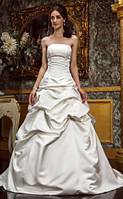 A-line Strapless Princess Sweep/Brush Train Satin Wedding Dress (604663)