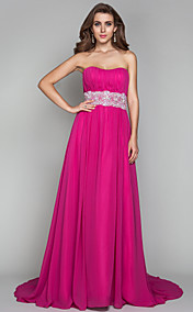 Sheath/Column Strapless Sweep/Brush Train Chiffon Evening Dress (493600)