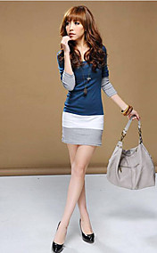 Women's Round Neck Cute Split Joint Fitted Long Sleeve Mini Dress