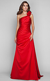 Sheath/Column One Shoulder Floor-length Satin Evening Dress (635889)