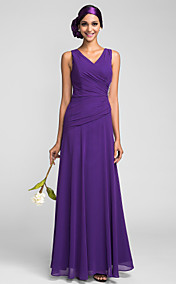 Sheath/Column V-neck Floor-length Chiffon Bridesmaid Dress (663658)