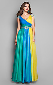 A-line/Princess V-neck Floor-length Chiffon Multi-color Evening Dress