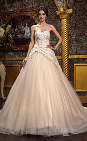 A-line Sweetheart Chapel Train Taffeta And Tulle Wedding Dress (467002)
