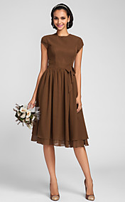 A-line Jewel Knee-length Chiffon Bridesmaid Dress (663662)