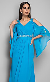 Sheath/Column V-neck Natural Floor-length Chiffon Evening Dress