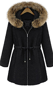 Women's Fur Collar String Belt Coat