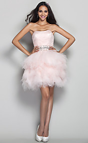 A-line/Princess Strapless Short/Mini Tulle Cocktail Dress (635899)