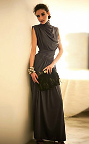 Women's Stand Collar Pleats High Waist Maxi Dress