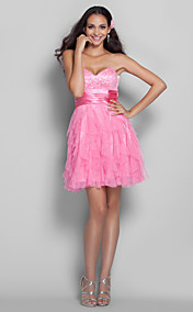A-line/Princess Sweetheart Short/Mini Sequined And Tulle Grace Cocktail Dress